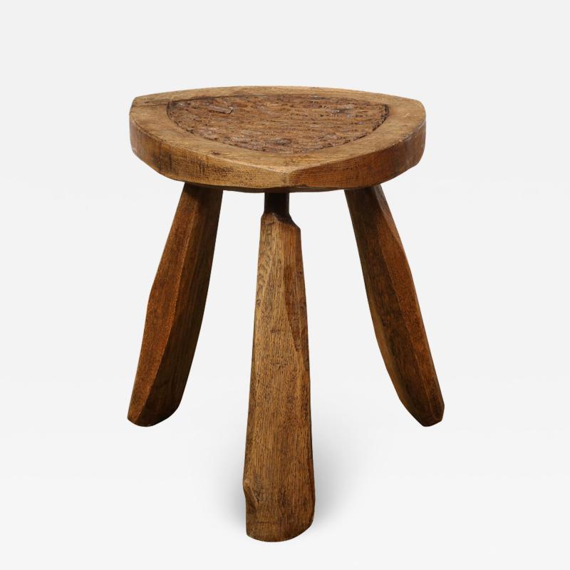 Mid Century Modern Organic Brutalist Amorphic Hand Carved Walnut Stool