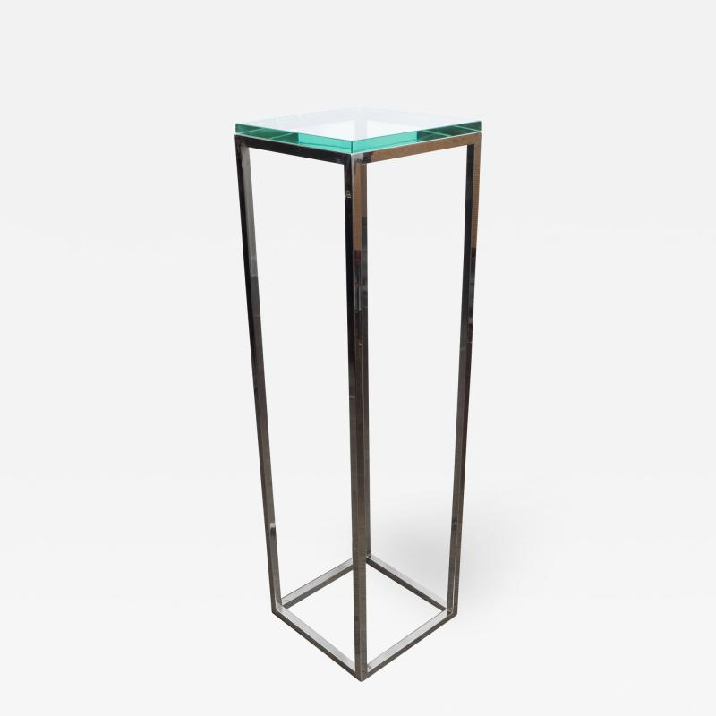 Mid Century Modern Rectilinear Open Frame Polished Chrome and Glass Pedestal
