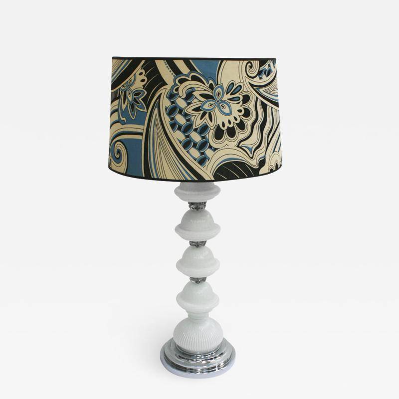 Mid Century Modern Single Murano and Metal Italian Table Lamp