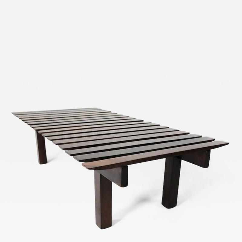 Mid Century Modern Small Rosewood Slatted Bench Brazil 1960s