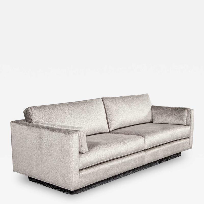 Mid Century Modern Sofa with Ceruse Oak Base