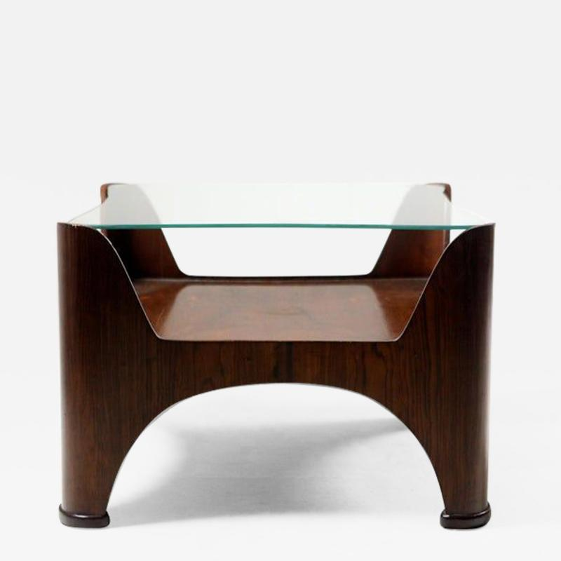 Mid Century Modern Square Glass Top Hardwood End Table Brazil 1960s