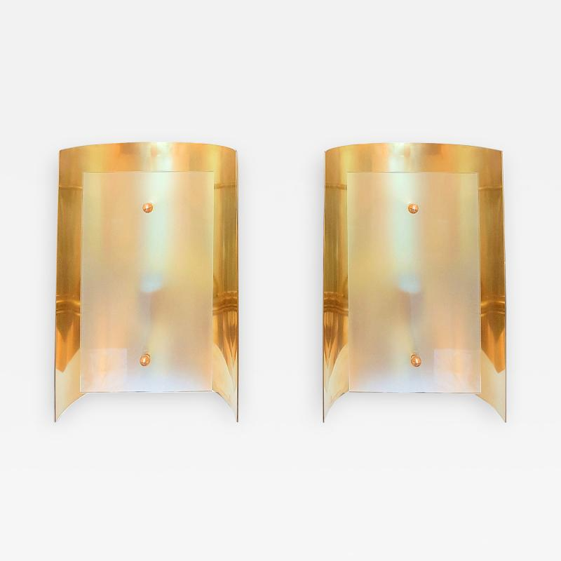 Mid Century Modern Style Dlightus Bespoke Brass and Frosted Glass Sconces