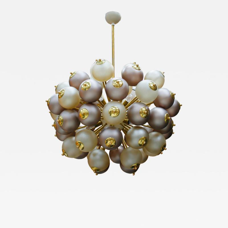 Mid Century Modern Style Mod Sputnik Brass and Glass Italian Ceiling Lamp