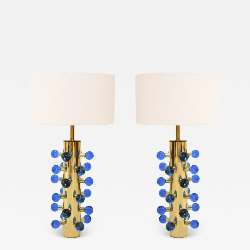 Mid Century Modern Style Pair of Brass and Murano Glass Italian Table Lamps