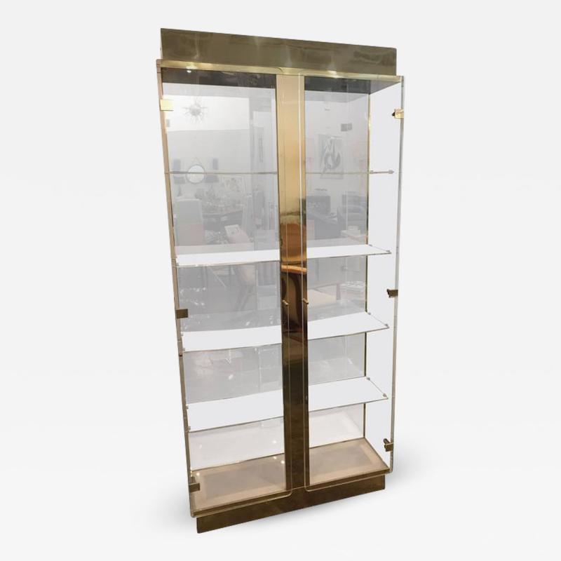 Mid Century Modern Tall Lucite Mirror Gold Tone Metal Cabinet w Lighting