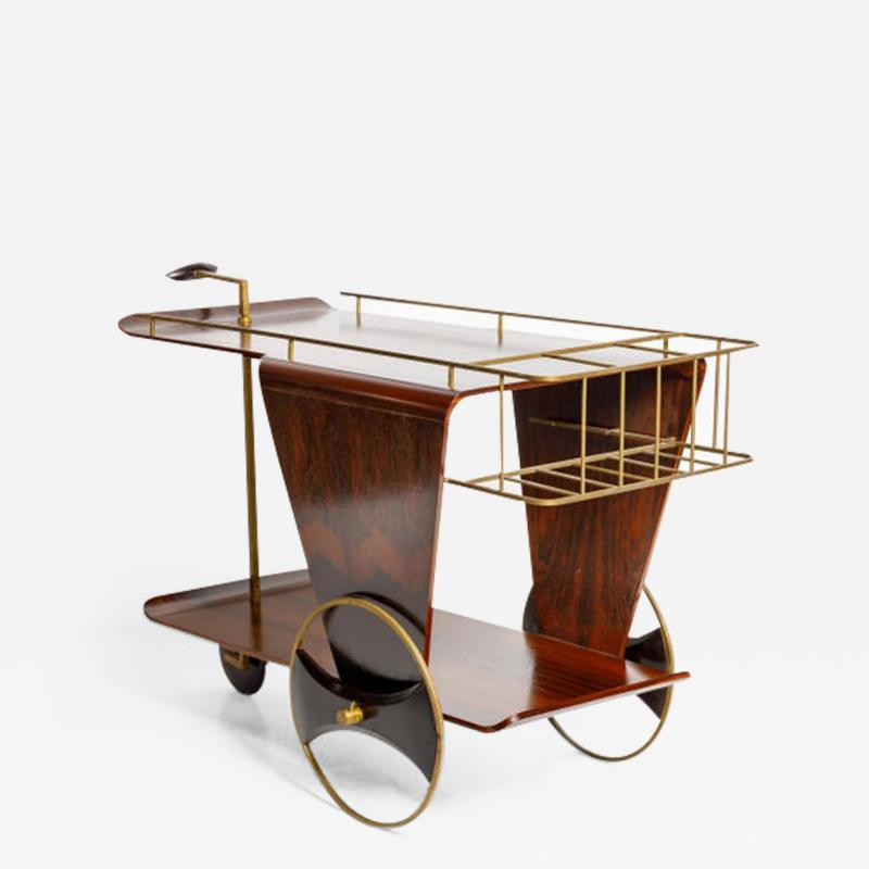 Mid Century Modern Two Tier Tea Cart in Rosewood Brazil 1950s