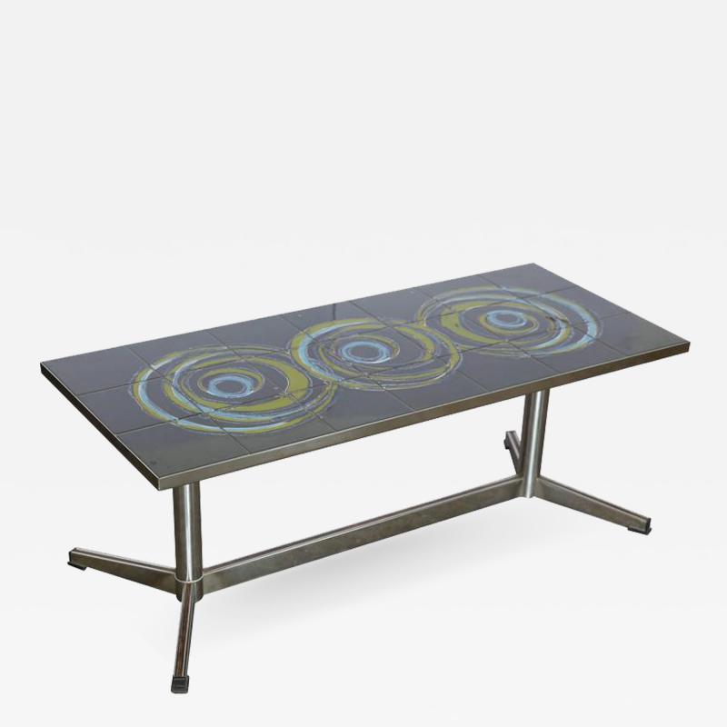 Mid Century Modern Vallouris Handmade Tile Table Top on Chromed Steel Base