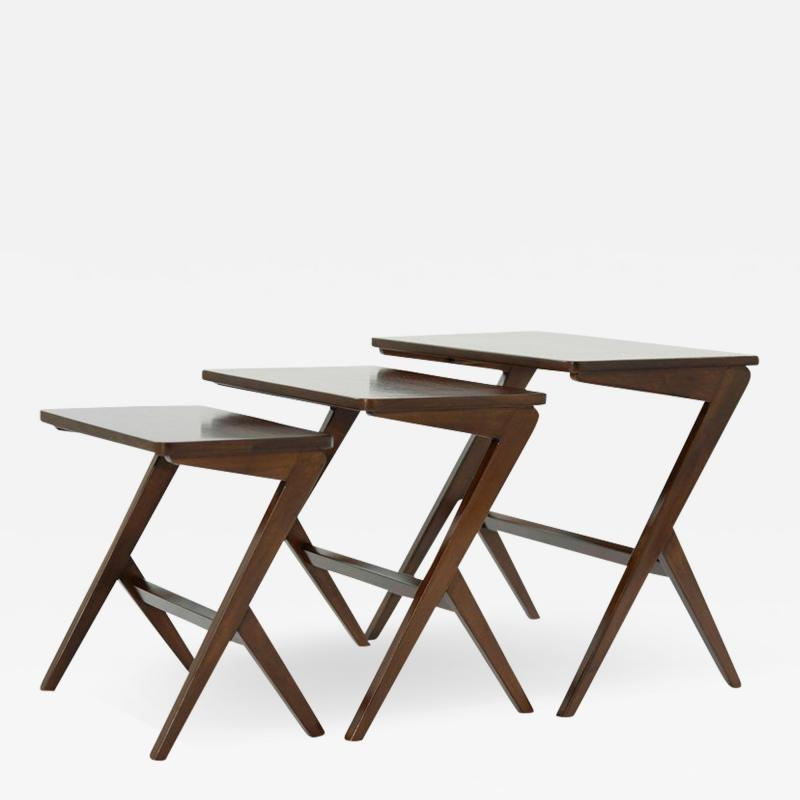 Mid Century Modern Walnut Nesting Tables