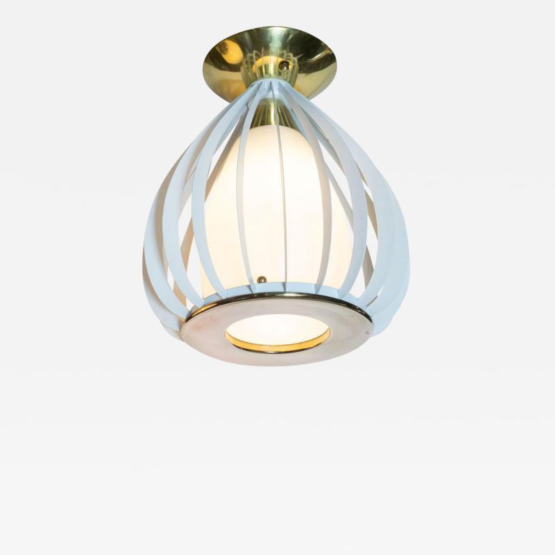 Mid Century Modern White Enamel Brass and Frosted Glass Lantern Chandelier