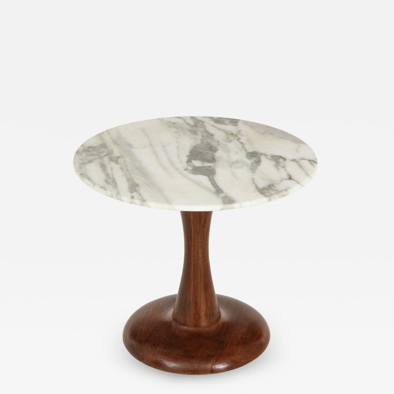 Mid Century Modern side table Walnut and Marble Top