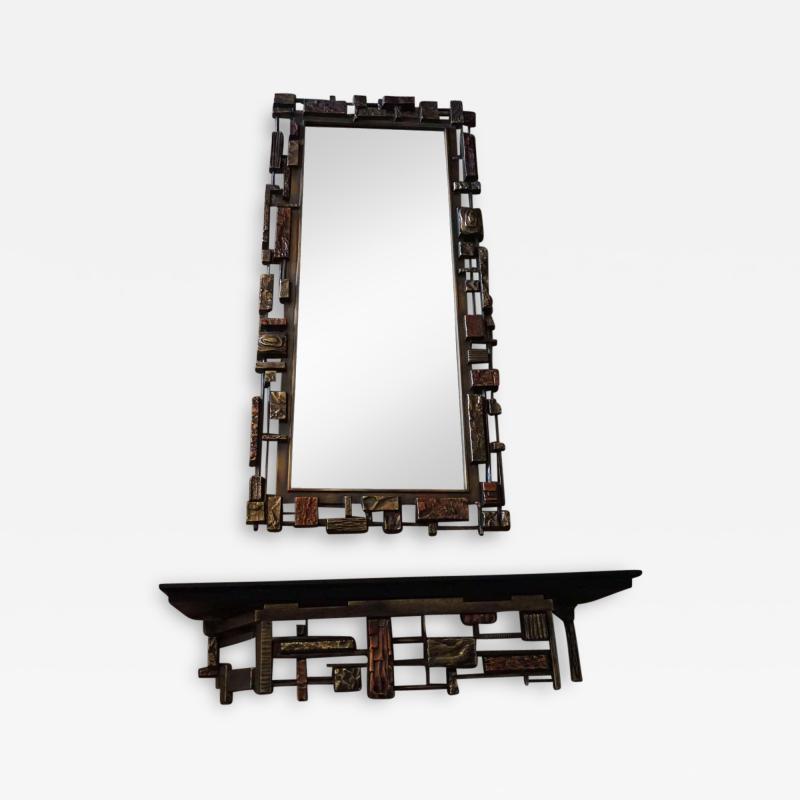 Mid Century Modernist Syroco Brutalist Mirror with Shelf