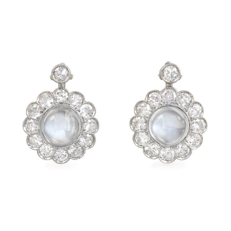 Mid Century Moonstone and Diamond Cluster Earrings in White Gold