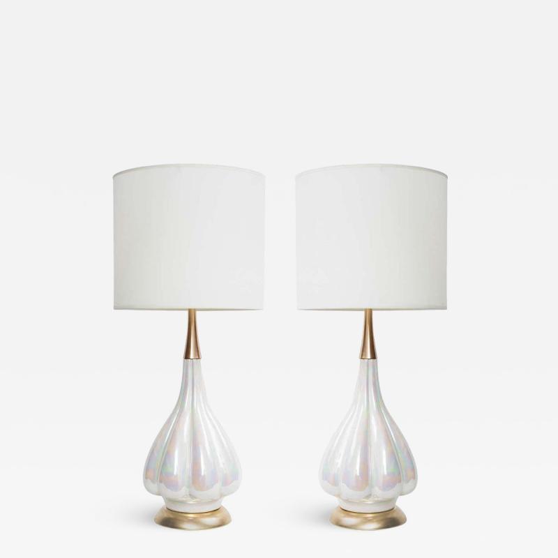 Mid Century Opalescent Glazed Ceramic Lamps