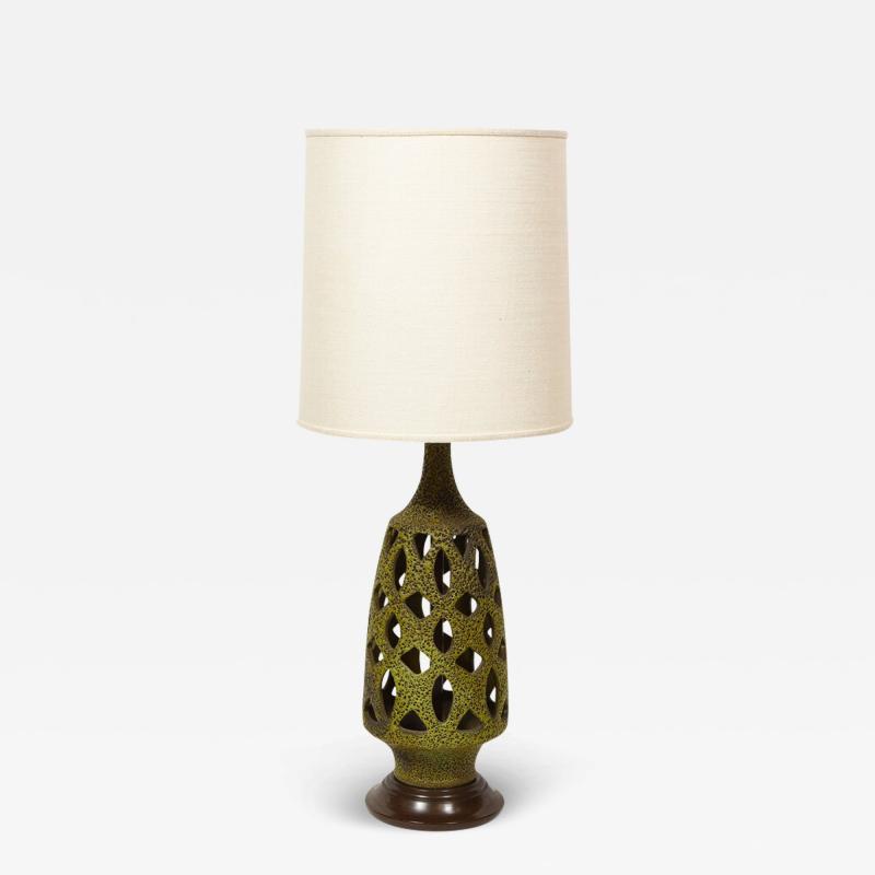 Mid Century Organic Modern Sculptural Latticework Table Lamp