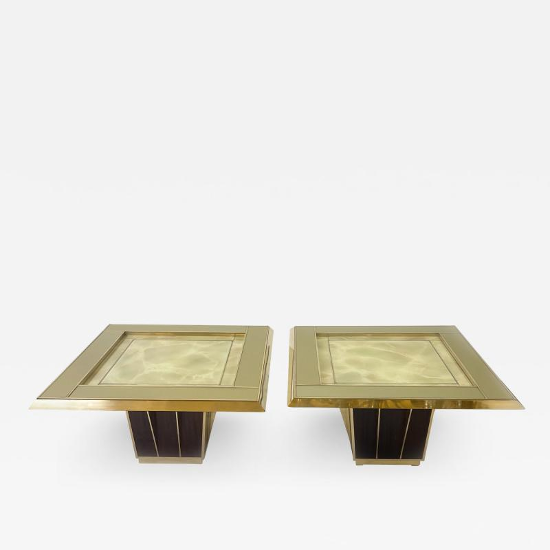 Mid Century Pair of Squared Wood Brass Green Artistic Glass Coffee Tables
