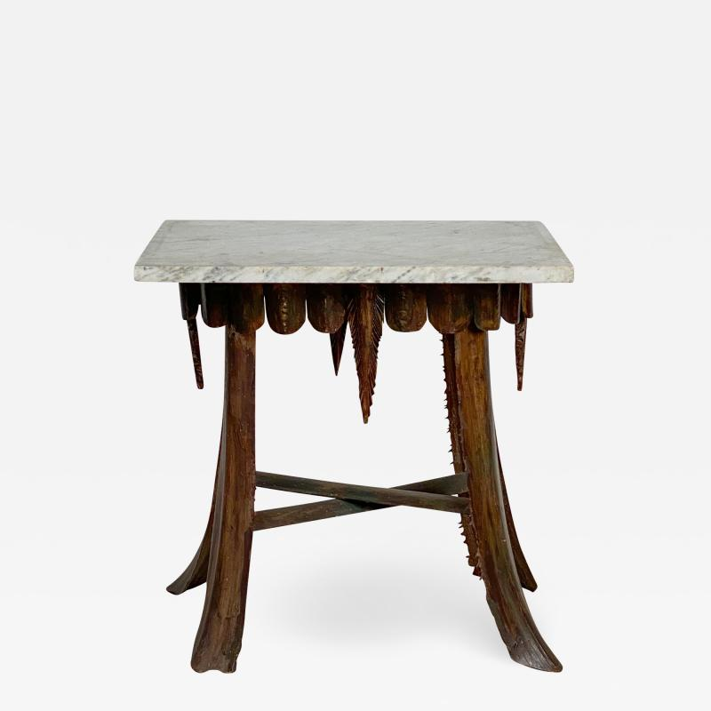 Mid Century Palm Leaf Table With Antique Marble Top Hawaii