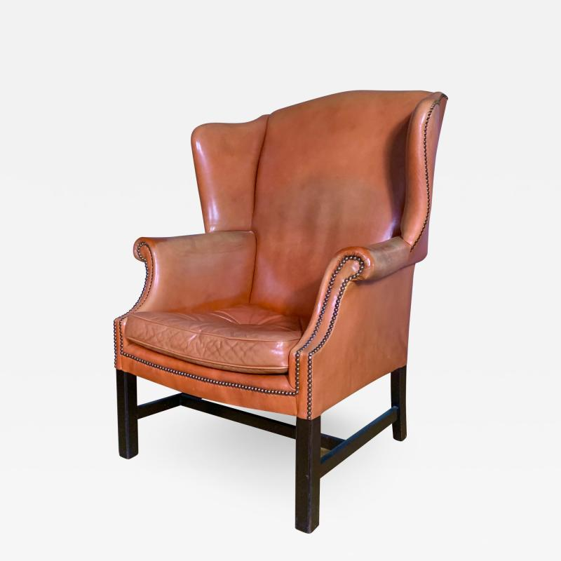 Mid Century Red Orange Leather Wingback Lounge Chair