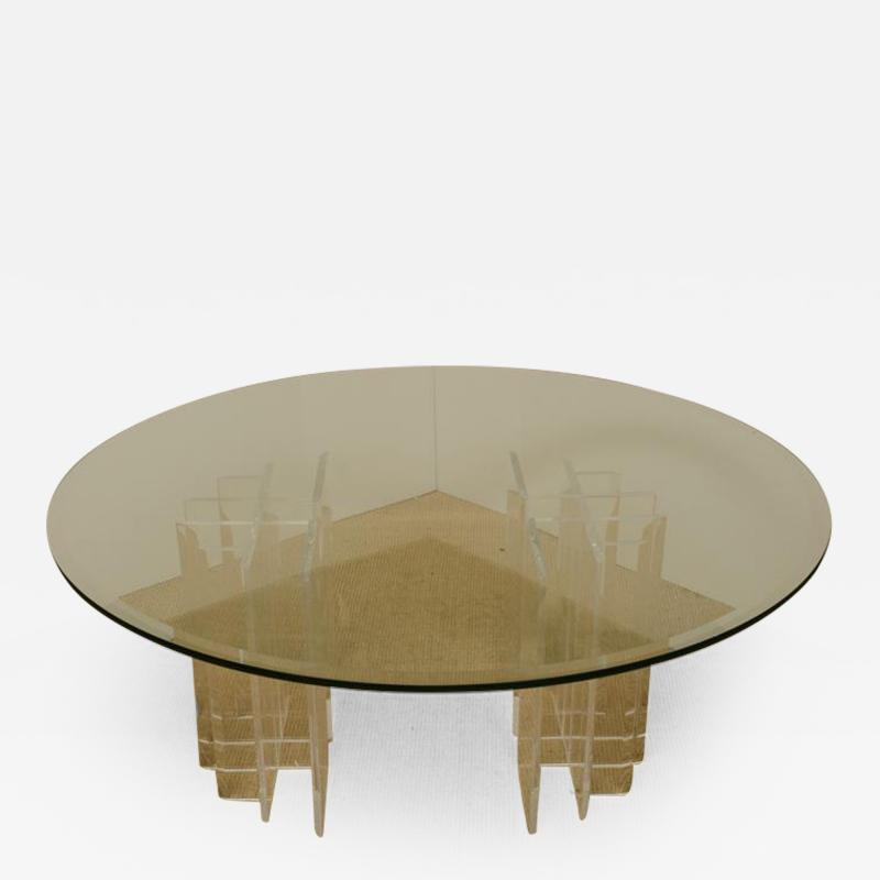 Mid Century Round Glass Top Coffee Table with Two Part Lucite Base