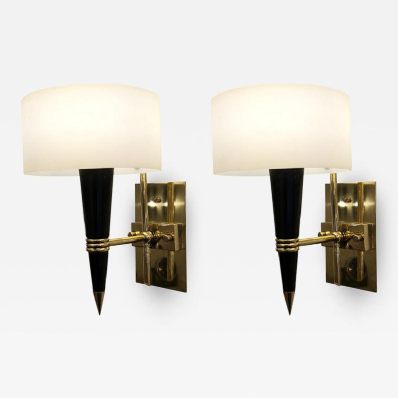 Mid Century Sconces with Round Glass Shades