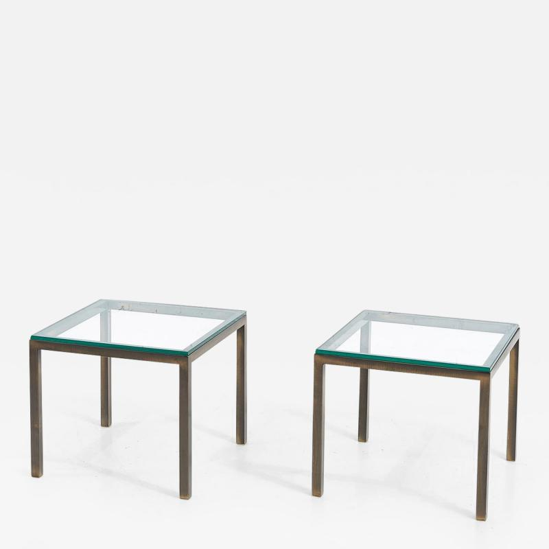 Mid Century Solid Bronze and Glass Side Tables 1970