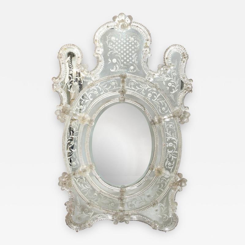 Mid Century Venetian Reverse Eglomise Braided Cartouche Mirror w Murano Florets