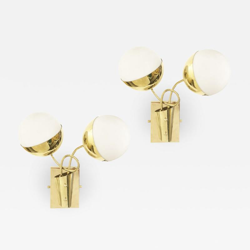 Mid Century Wall Lights with Two Globes