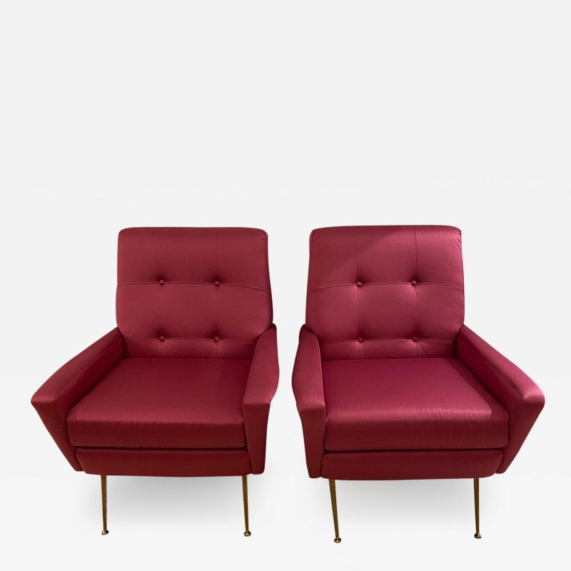 Mid Century pair of Armchairs in fuchsia colour