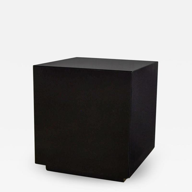 Mid century modern black painted cube cabinet end or side table