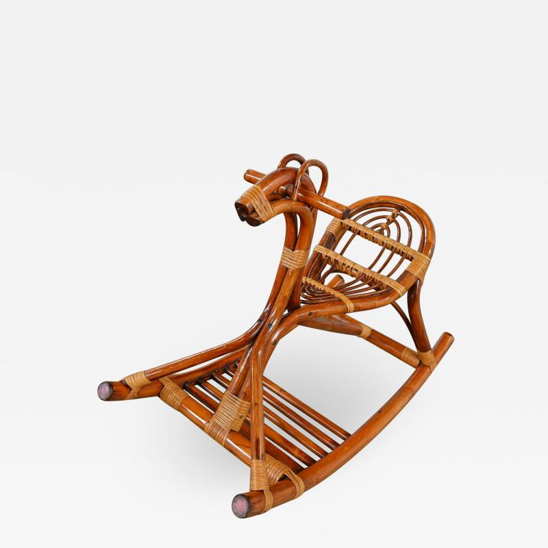 Mid century modern stylized rattan rocking horse