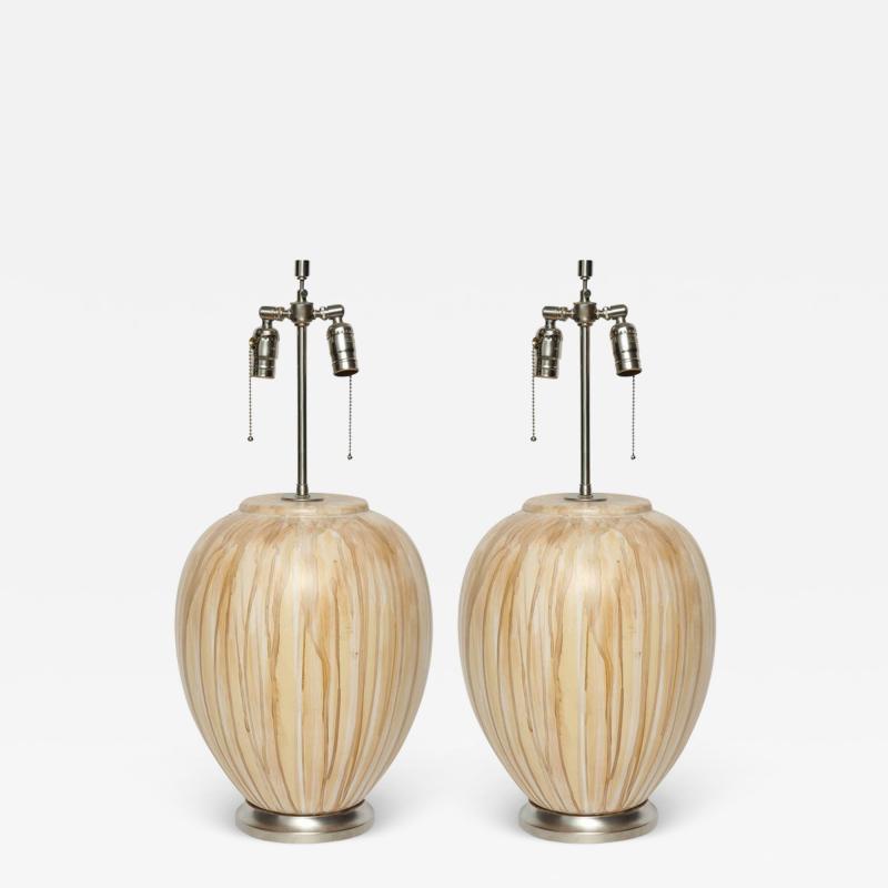 MidCentury Tan Drip Glazed Ceramic Lamps