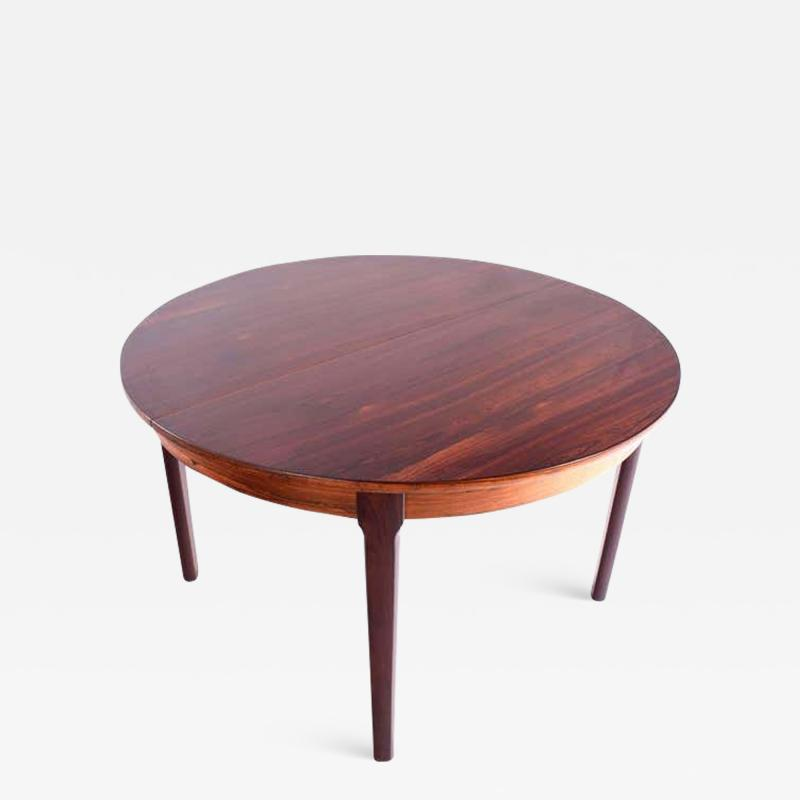 Midcentury Danish Rosewood Dining Table with Two Hidden Leaves