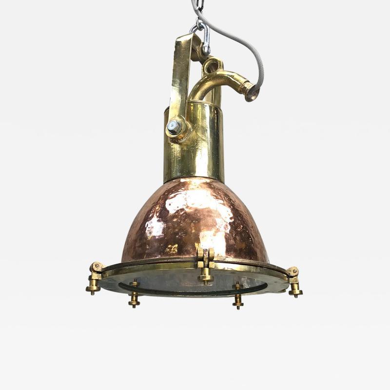 Midcentury German Copper Cast Brass and Glass Industrial Marine Pendant Light
