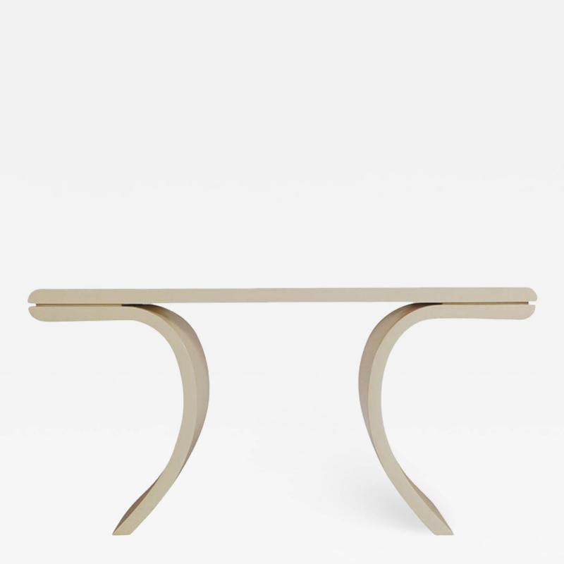 Midcentury Italian Postmodern Console Table or Sofa Table with Beige Lacquer
