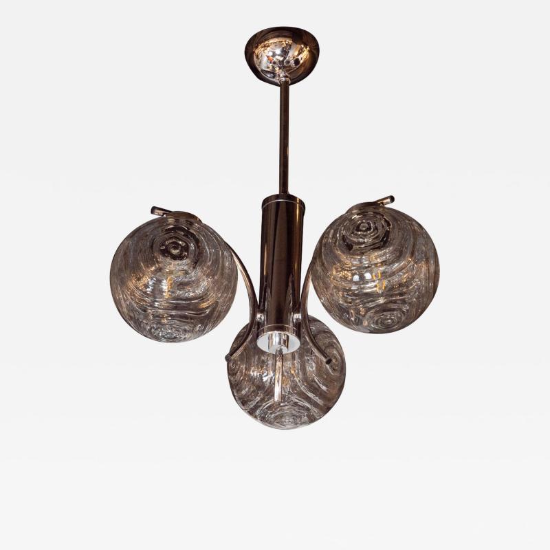 Midcentury Organic Modern Smoked Clear Textured Three Globe Chrome Chandelier