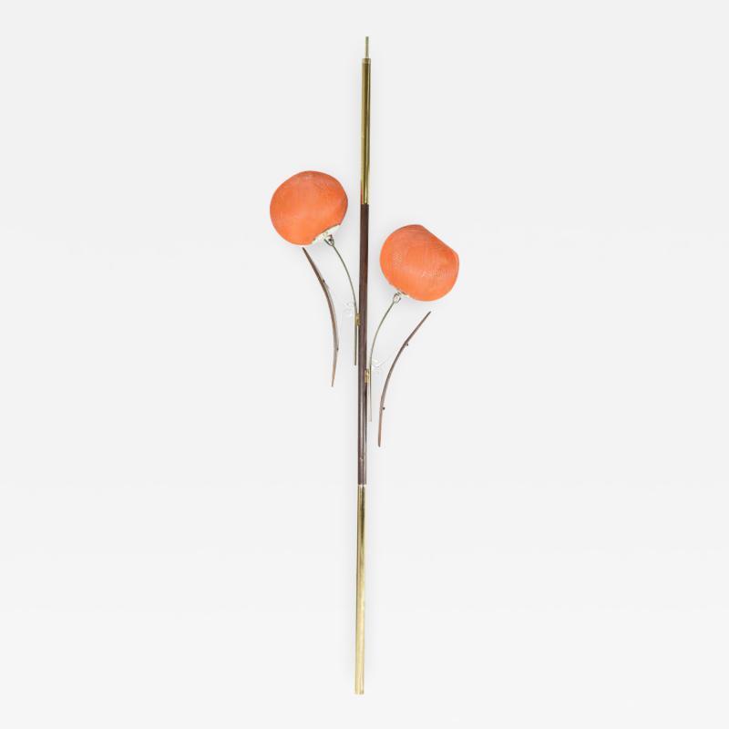 Midcentury Tension Pole Lamp with Spun Fiberglass Shades