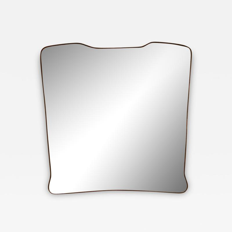 Midcentury Wall Mirror Brass Frame Minimal Design 1950s