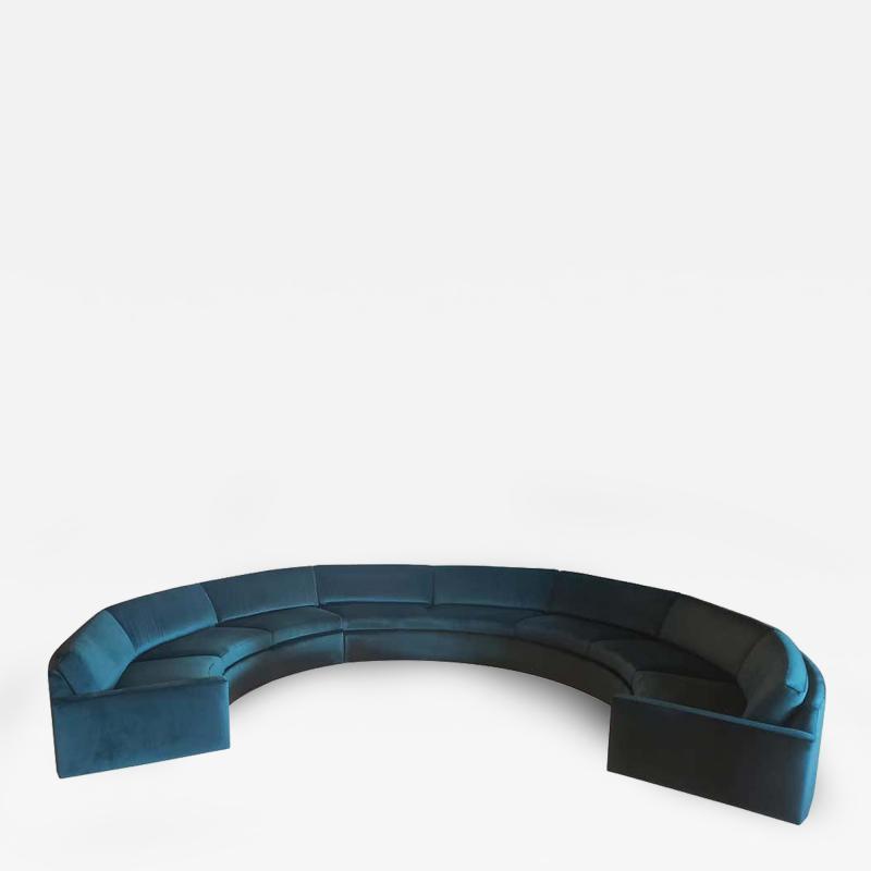 Milo Baughman 1960s Milo Baughman for Thayer Coggin Circular Sofa Fully Restored Teal Velvet