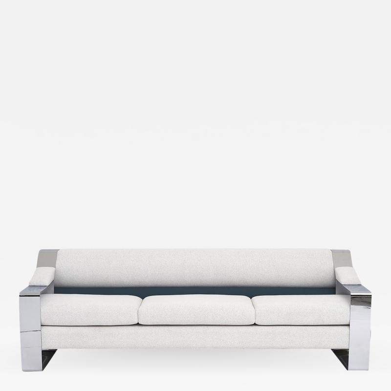 Milo Baughman 1970 s Chrome Sofa Extra Wide Flat Bar