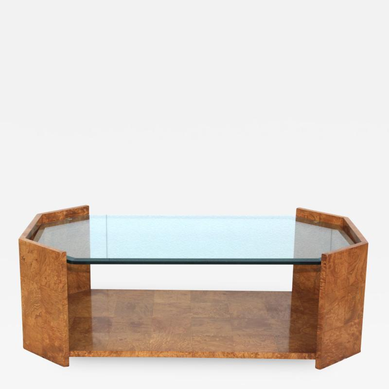 Milo Baughman 1970s Mid Century Modern Burl wood Coffee Table