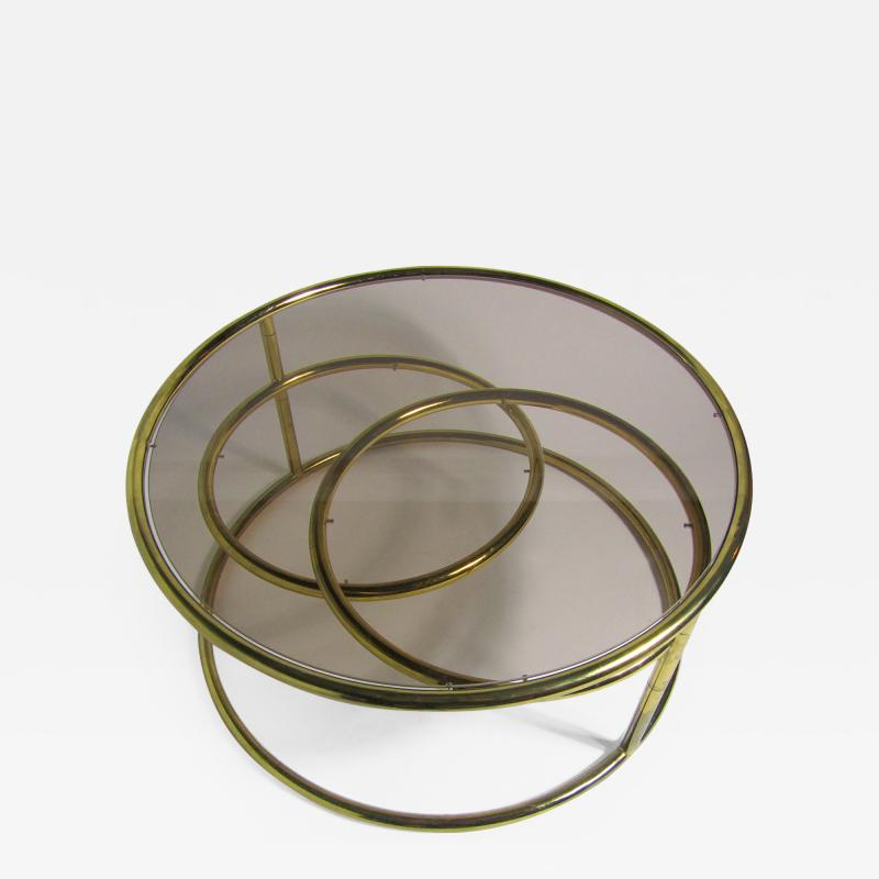 Milo Baughman American Modern Brass Smoked Glass Three Ring Coffee Table