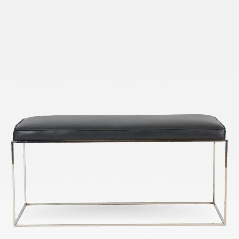 Milo Baughman Architectural Chrome Frame Bench by Milo Baughman