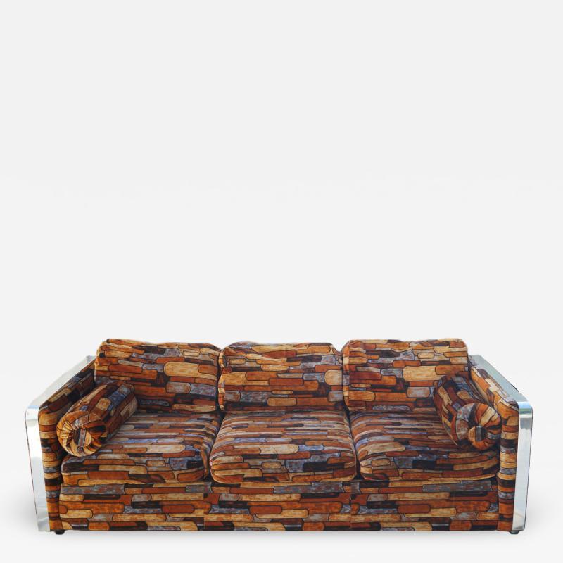 Milo Baughman Brick Mid Century Modern Chrome Fabric Jack Lenor Larsen Milo Baughman Type Sofa