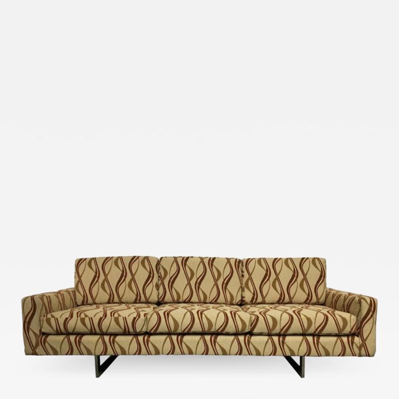 Milo Baughman Chrome Base 1970s Tuxedo Sofa