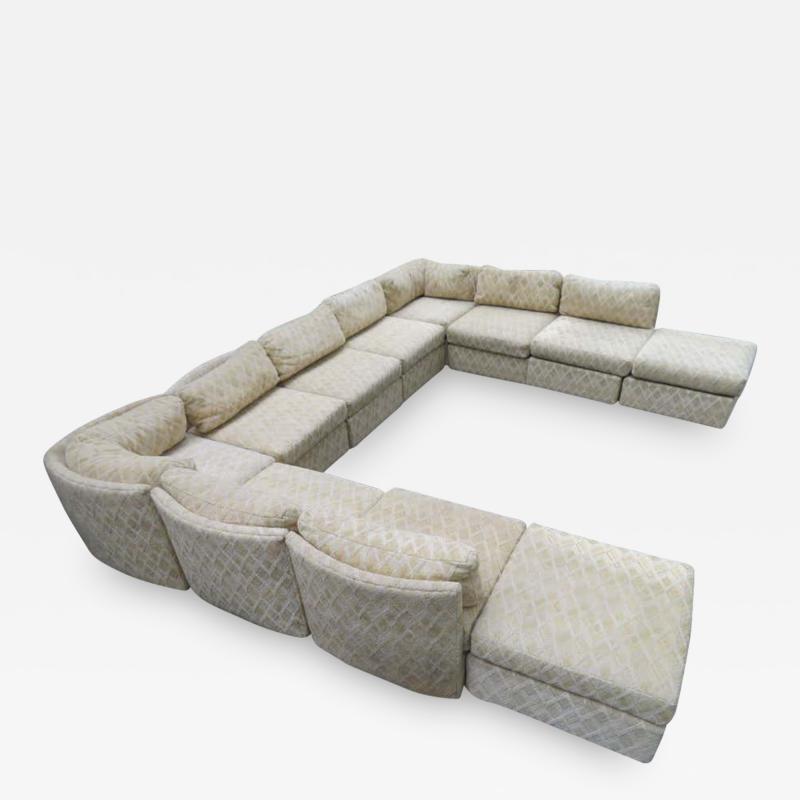 Milo Baughman Extra Large Milo Baughman 11 Piece Curved Back Cube Sectional Sofa Midcentury