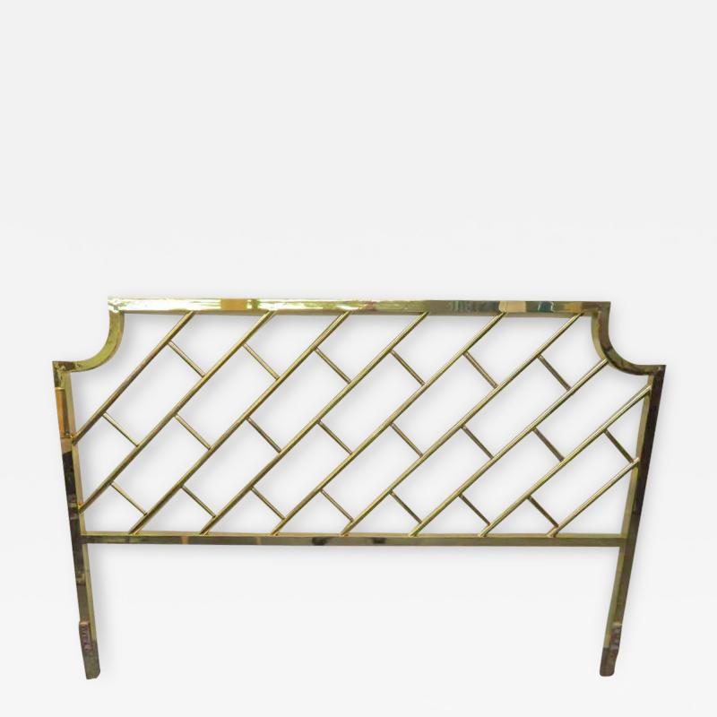 Milo Baughman Fantastic Tall Brass Lattice Hollywood Regency King Size Headboard