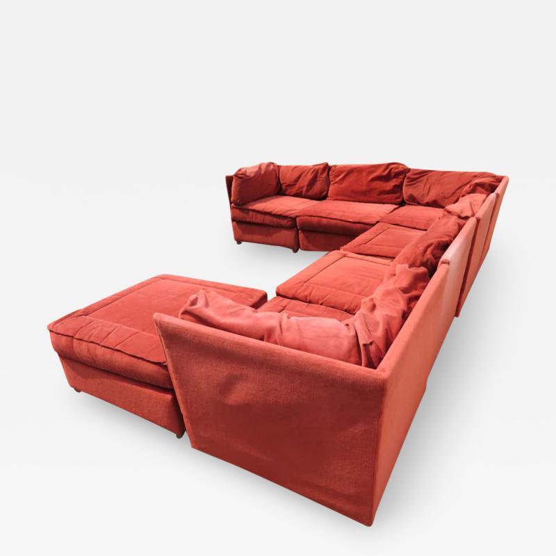 Milo Baughman Handsome 7 Piece Milo Baughman Style Sectional Sofa Mid Century Modern