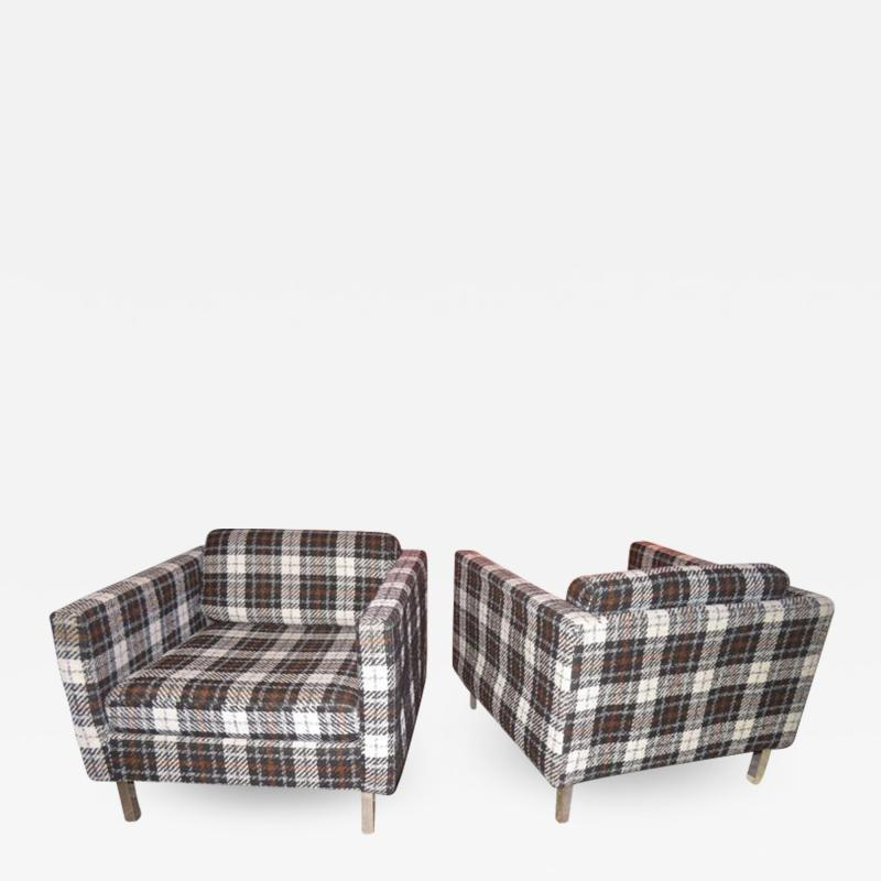 Milo Baughman Handsome Pair of Milo Baughman Style Plaid Chrome Cube Lounge Chairs