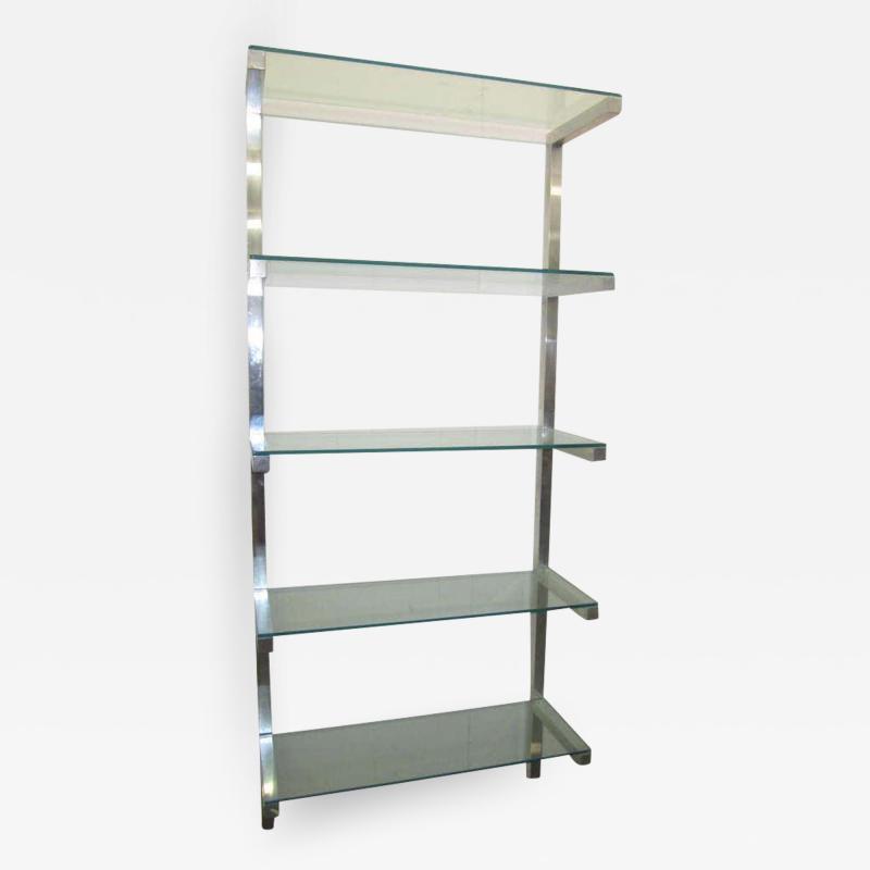 Milo Baughman Lovely Pair of Floating Aluminum and Glass Shelves Etagere Mid century Modern