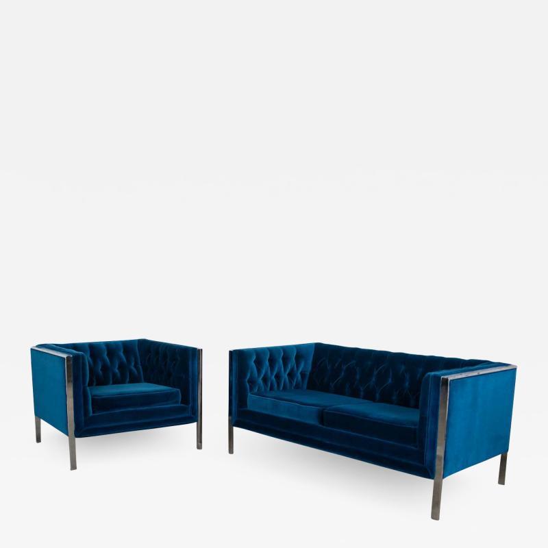 Milo Baughman Mcm royal blue velvet chrome cube loveseat chair after milo baughman
